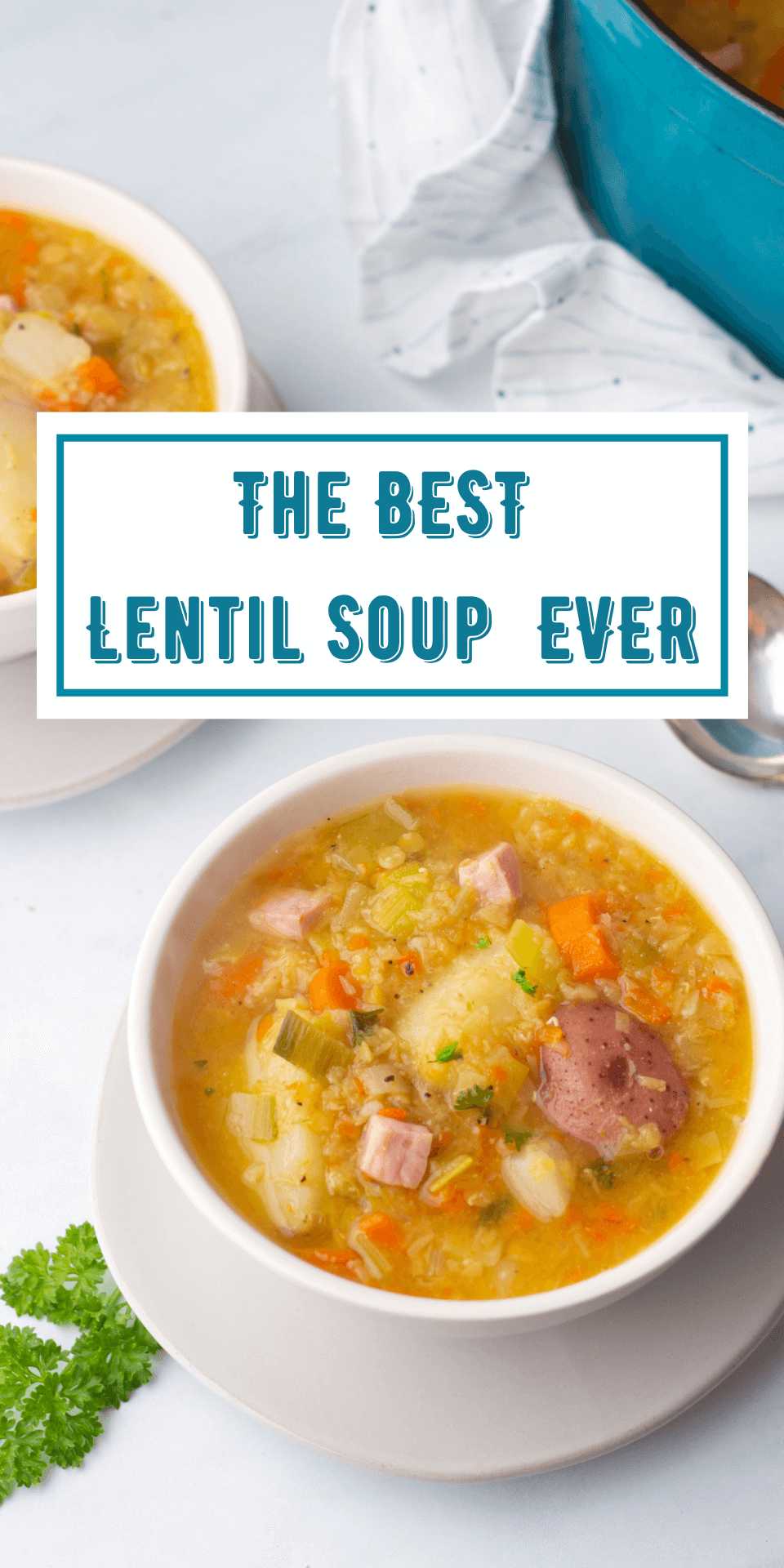"Image of lentil soup with ""The Best Lentil Soup Ever"" written in blue"