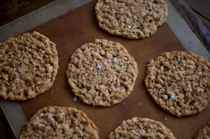 oatmeal lace cookies sit on a silicone baking mat on a baking tray