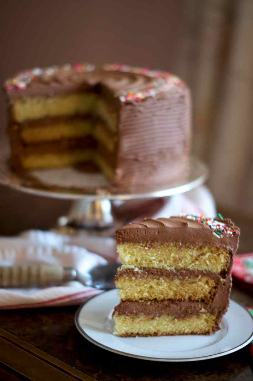 Yellow Cake with Chocolate Frosting | via Midwest Nice Blog
