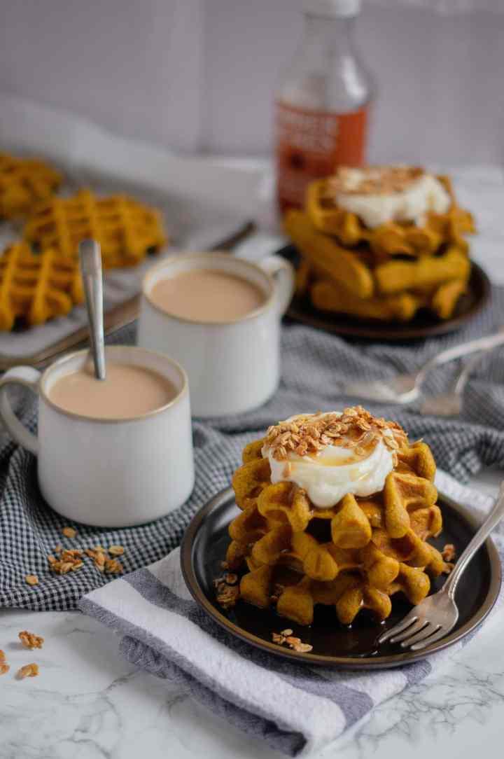 Pumpkin Sourdough Waffles