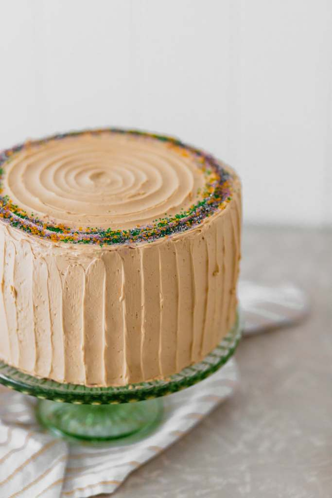 King Cake Layer Cake with Brown Sugar Swiss Meringue Buttercream