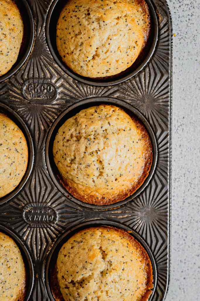 Freshly baked lemon poppy seed muffins cool in an antique muffin pan on a speckled white back drop.