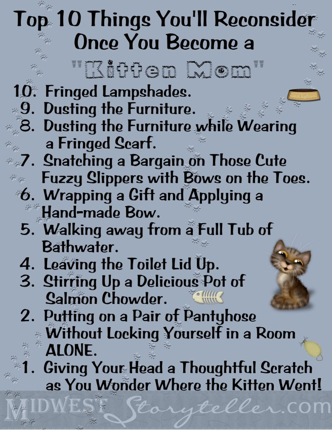 Top 10 Things Kitten Mom www.midweststoryteller.com