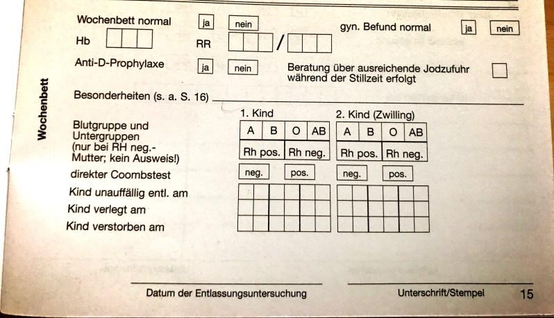 Documentation of Wochenbett in Mutterpass