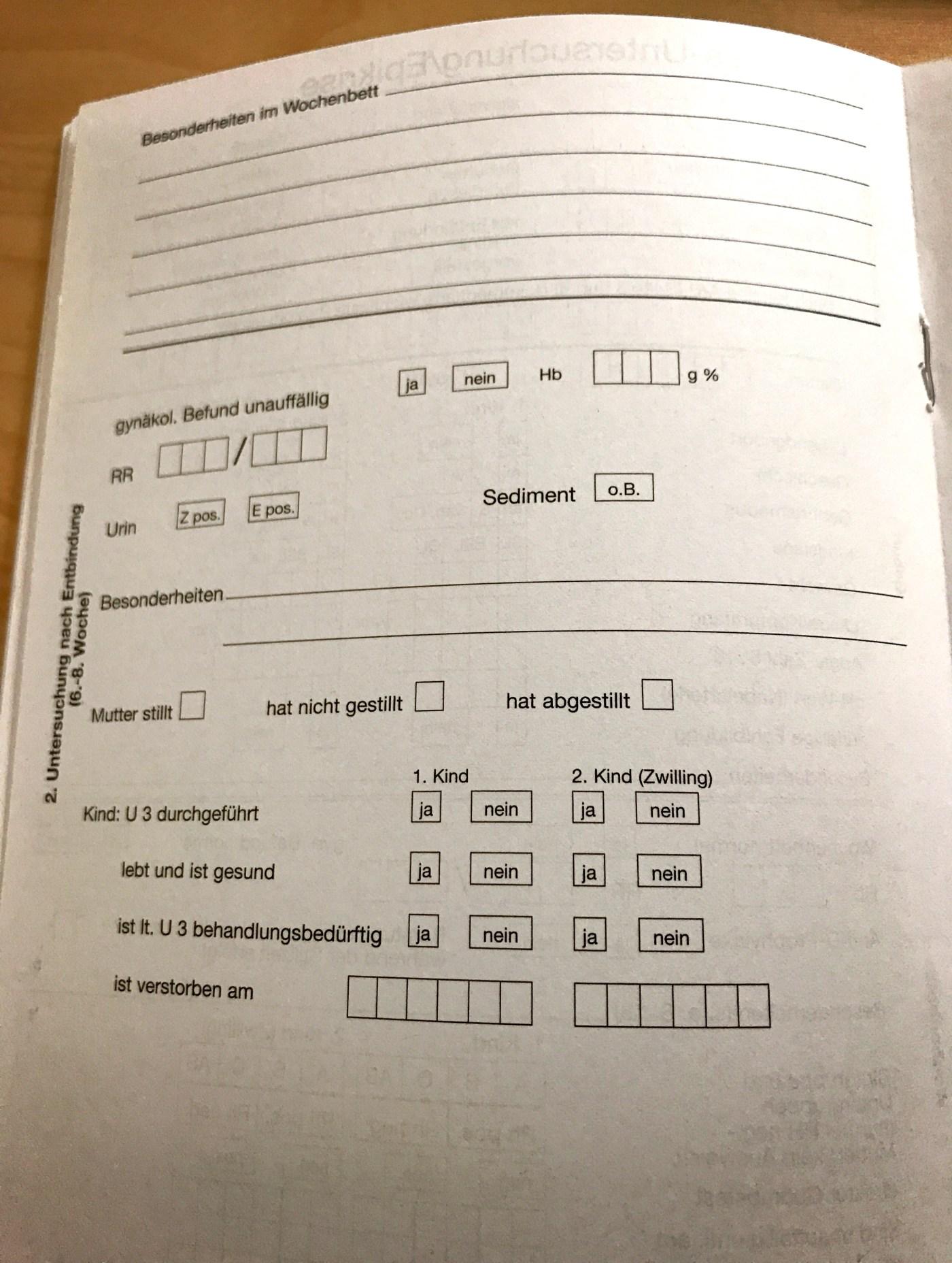 Abschlussuntersuchung documented in Mutterpass