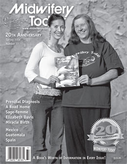 cover of Midwifery Today Issue 77 with Jan and friend