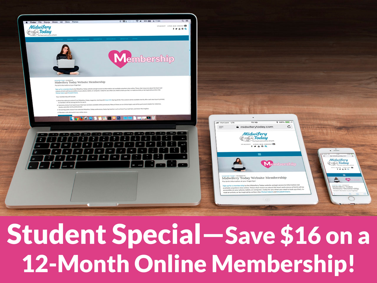 Students save $16 on a 12 month Online Membershop