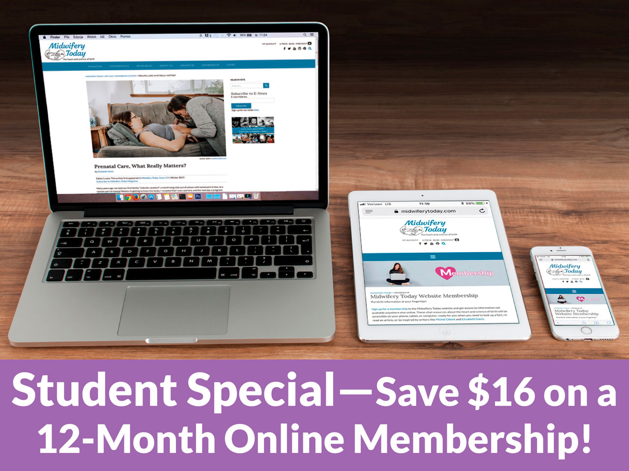 Students! Save $16 on a one-year Midwifery Today Online Membership!