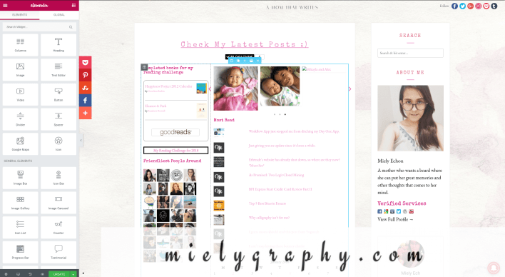 Mielygraphy Homepage with Elementor