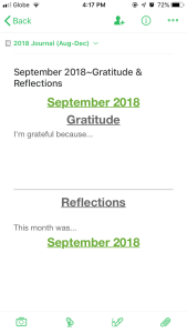 Gratitude Page Evernote Bullet Journal Templates