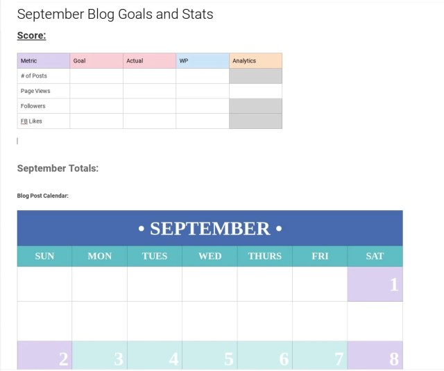 Blog goals and stats on Evernote