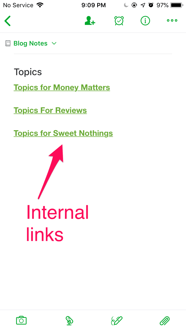 Internal linking on Evernote