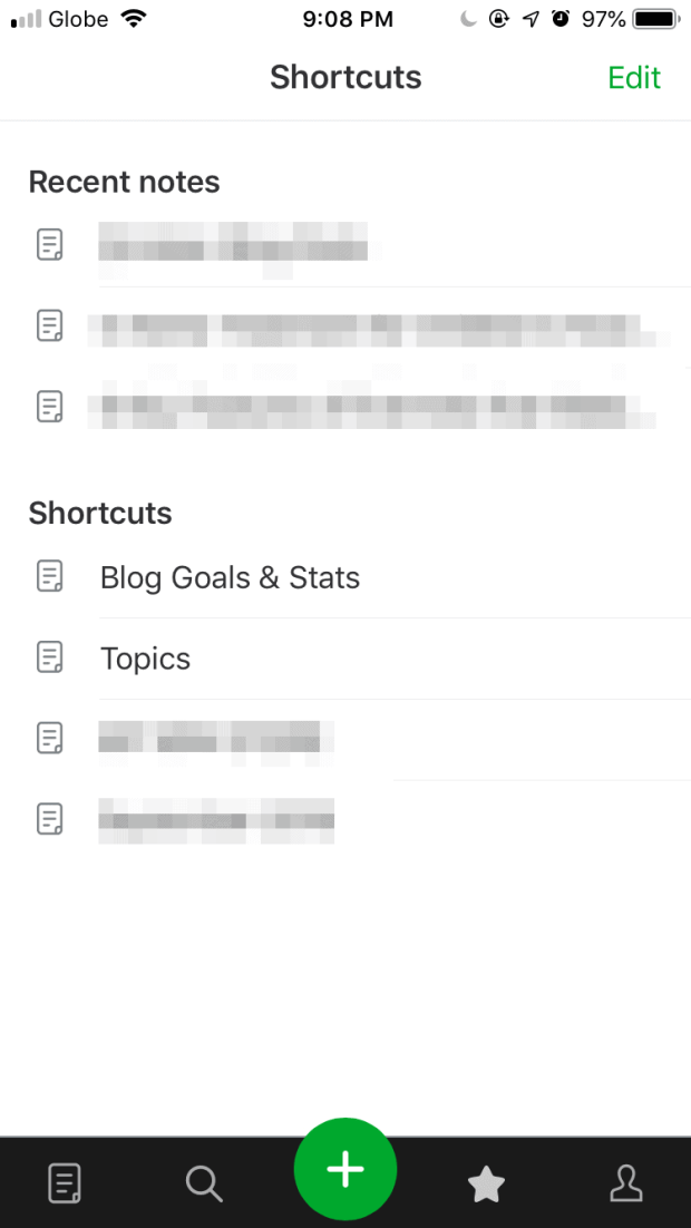 Shortcuts on Evernote