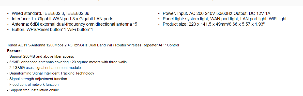 Tenda AC11 Specifications