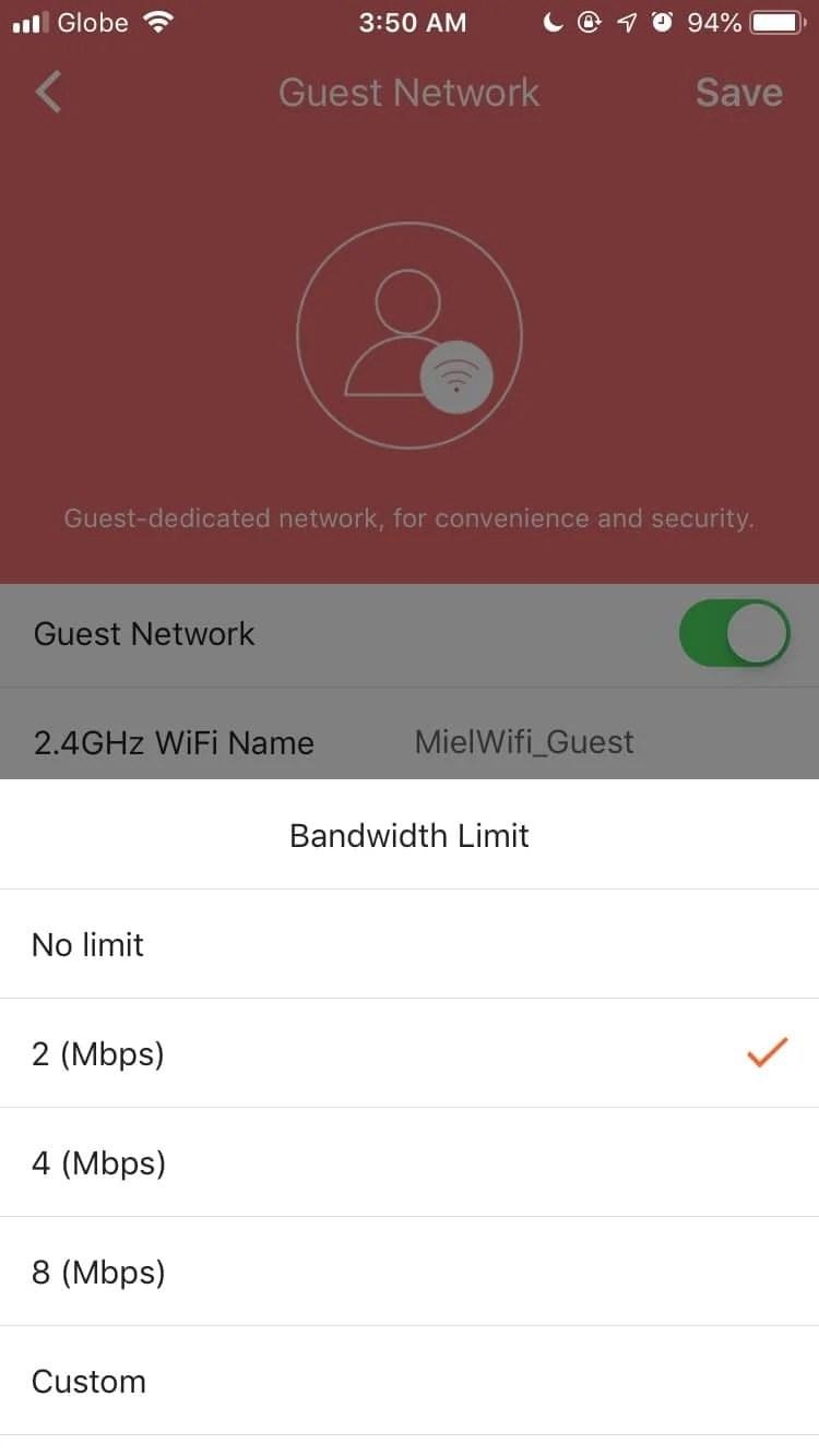 Guest Wi-Fi Bandwidth Limit
