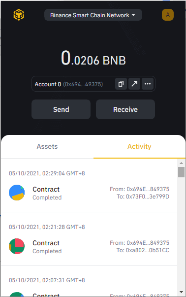 Transaction and activity view with Binance Chain Wallet