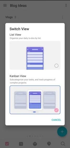 TickTick app powerful custom view: List and Kanban for tracking progress