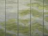 de verdronkenen. vijf panelen met de namen van alle 1836 slachtoffers van de watersnoodramp van 1953. monumentaal werk vanb miep van riessen in verf en textiel op doek.