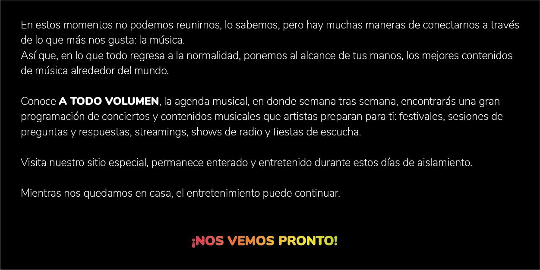 A Todo Volumen: agenda de próximos conciertos vía streaming