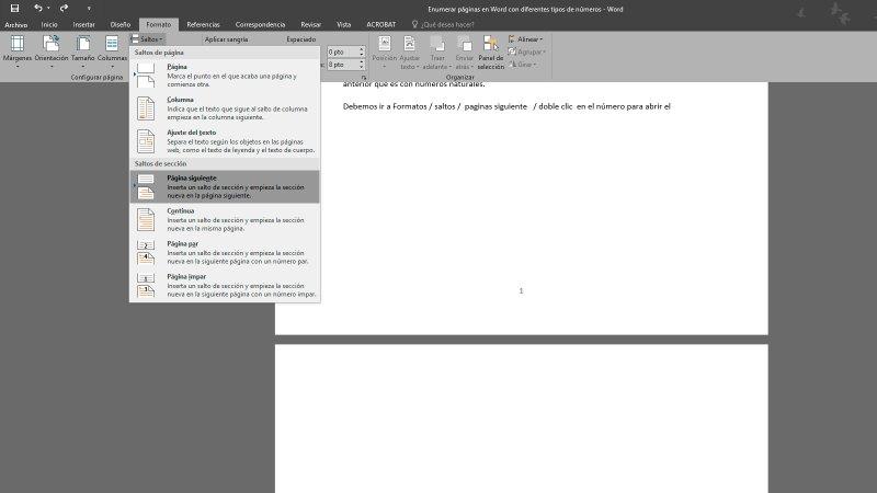 Enumerar páginas en Word 2