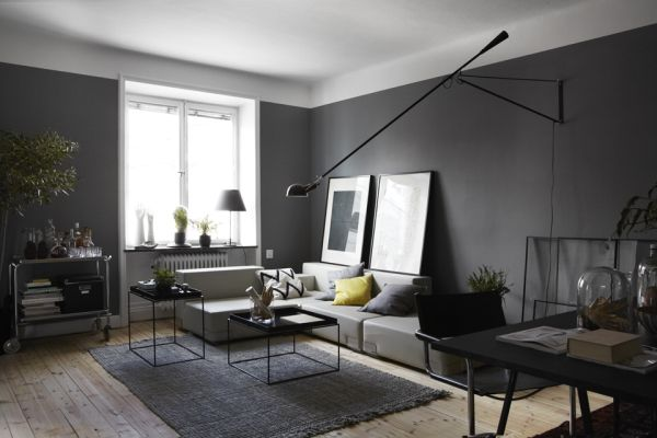 Ciemne ciany  Mieszkaniowe inspiracje