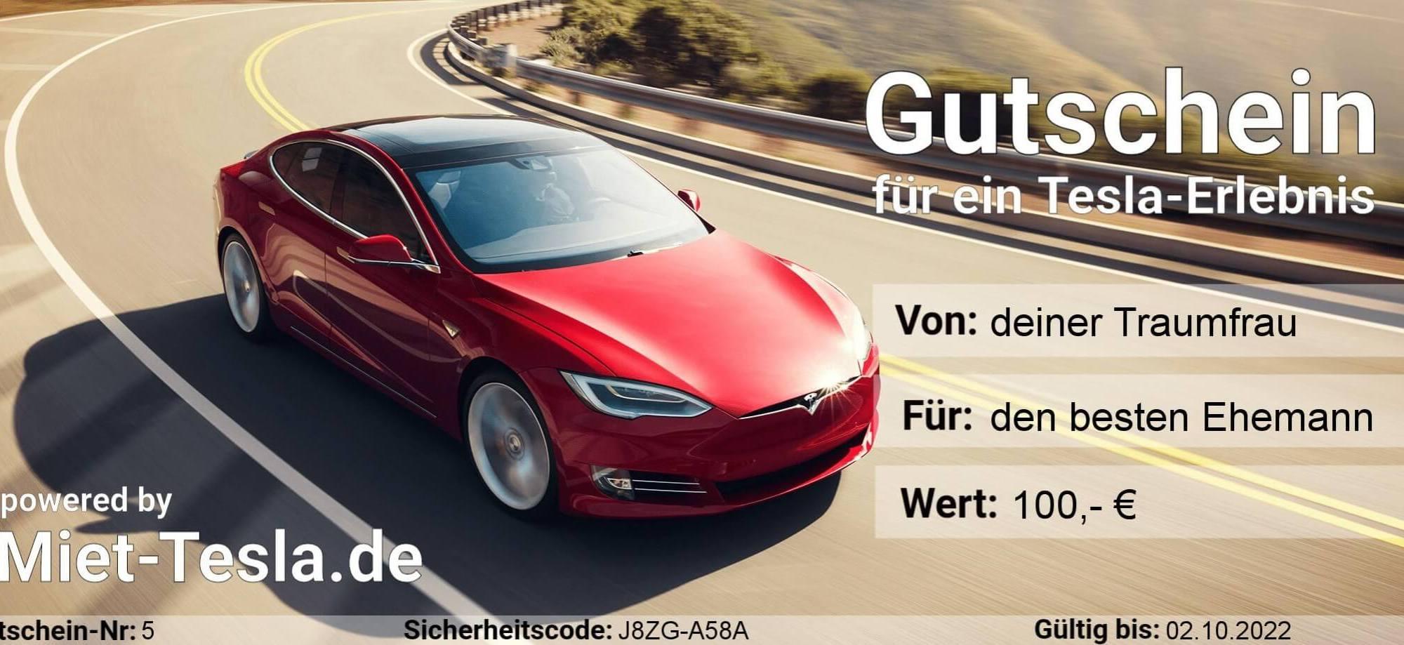 Tesla Geschenk Gutschein