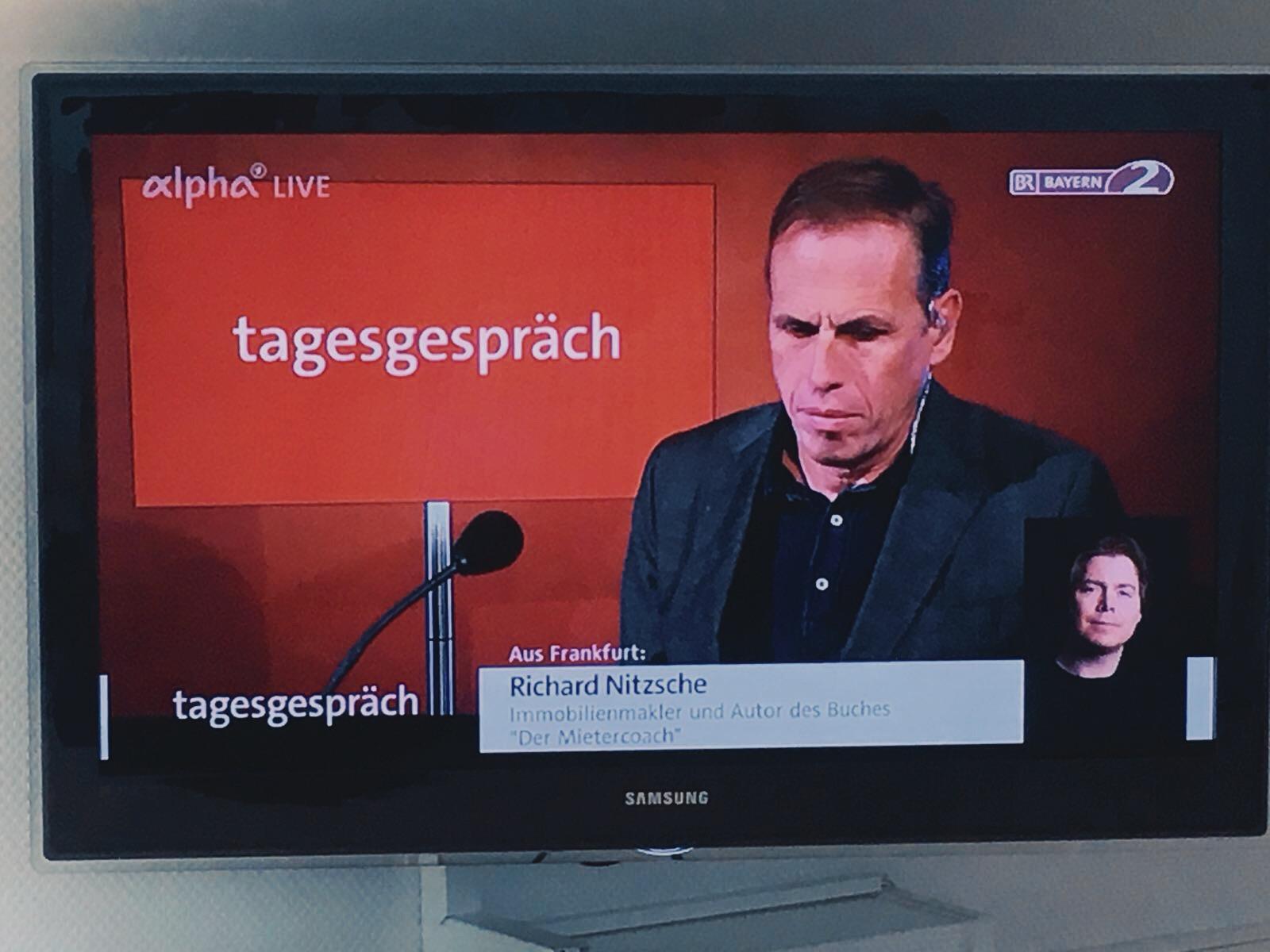 """Wohnungssuche und Mietenwahnsinn: Richard Nitzsche im """"tagesgespräch"""" von BR2 und ARDalpha"""