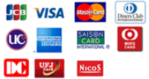 各種クレジットカードがご使用頂けます