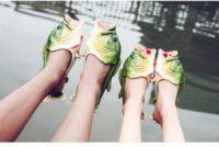 2 paires de chaussurs poisson tongues gogounes flip flops AliExpress