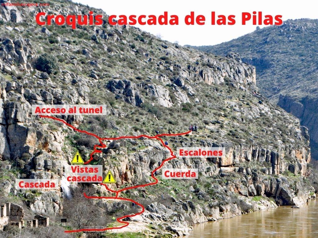 Croquis de la entrada al túnel en las Cascadas de Las Pilas