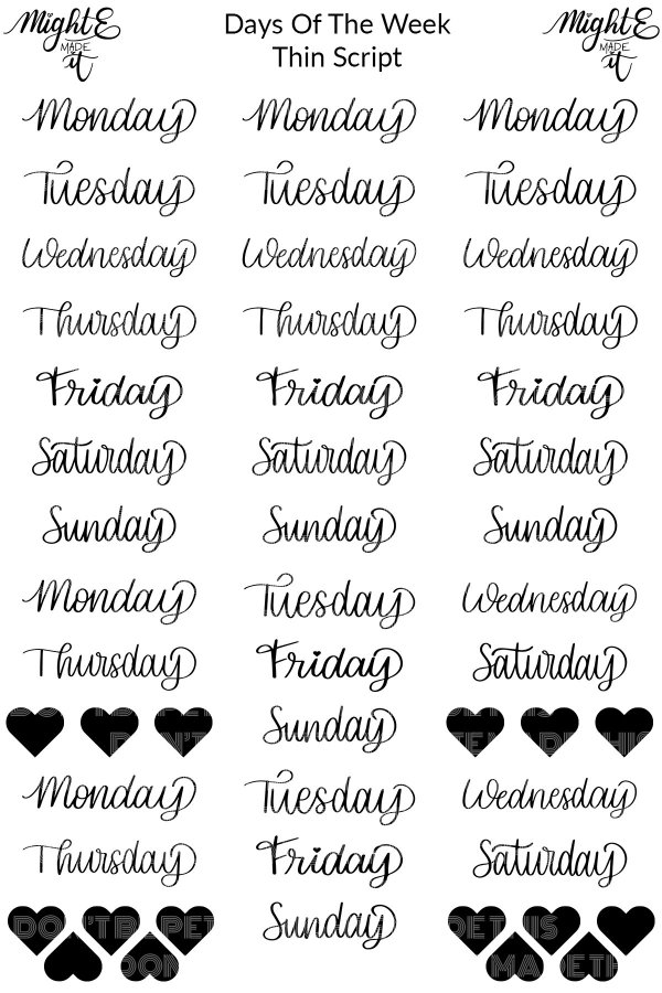 Thin Script Planner Stickers - Days of the Week