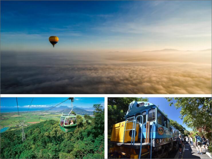 熱気球+スカイレール&キュランダ列車チケット【ケアンズツアーのことならジェイさんツアー】