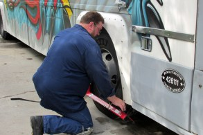 Chris sets up the alignment tool on the passenger side