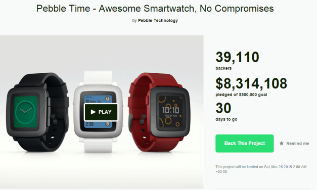Pebble Announces Pebble Time Smart Watch. Raises $500K on Kickstarter in 17 Minutes