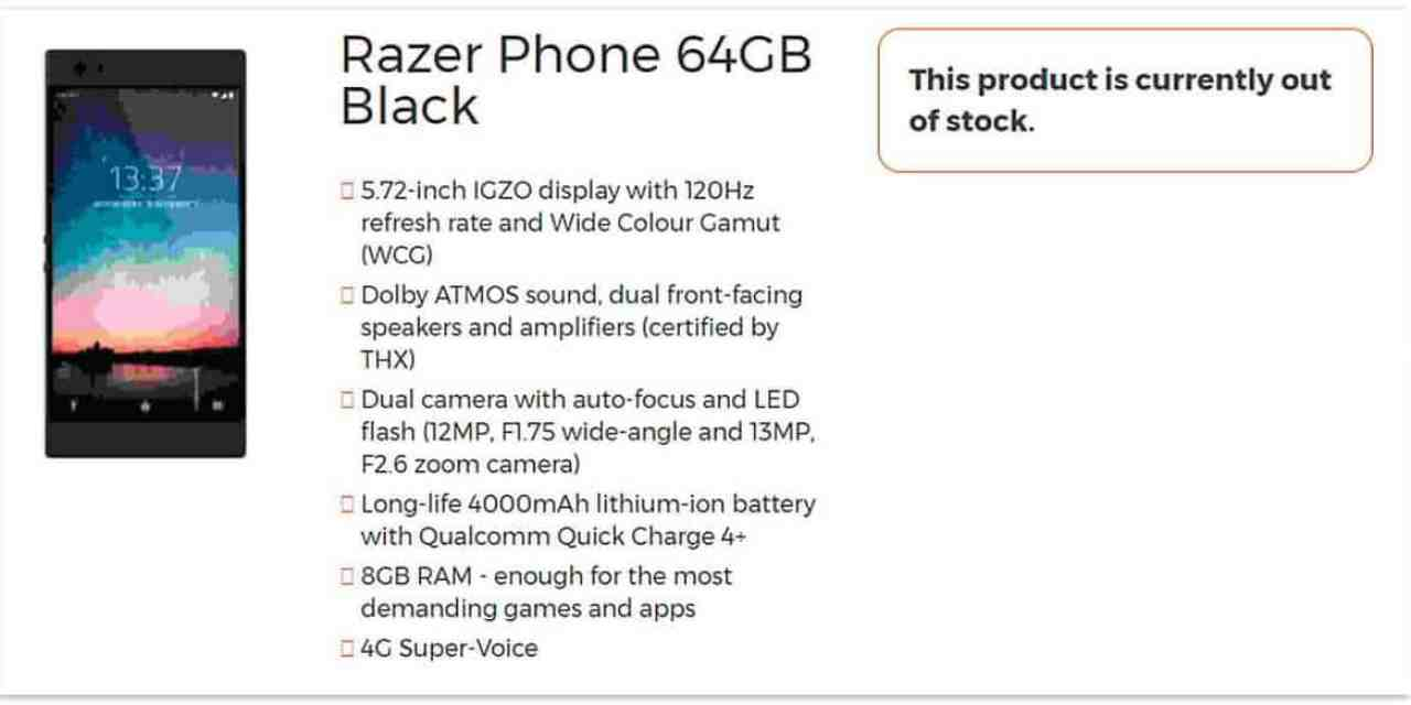 Razer Phone Specifications Aimed at Gamers