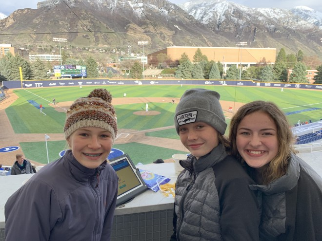 Andie, Claire, and Ruby at a BYU baseball game