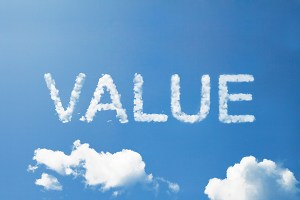 "The value of a website - Image: ""VALUE"" written in clouds"