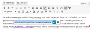 web packages URL, website design text screenshot