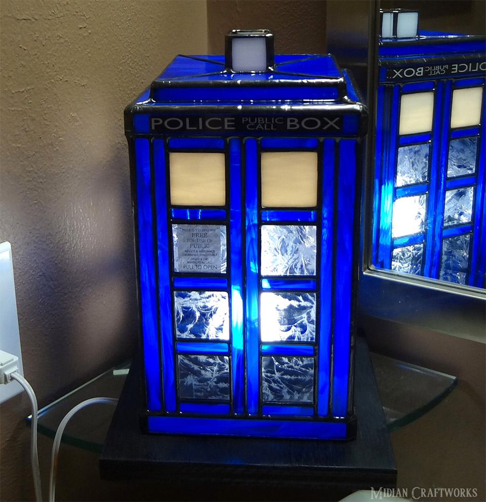 Stained Glass TARDIS Lamp  MightyMega