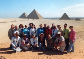 Group photo at Giza - Kneeling: Mike on the right; our guide, Waleed on the left