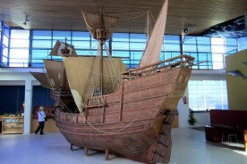 Model of The Victoria - The first ship to circumnavigate the globe.