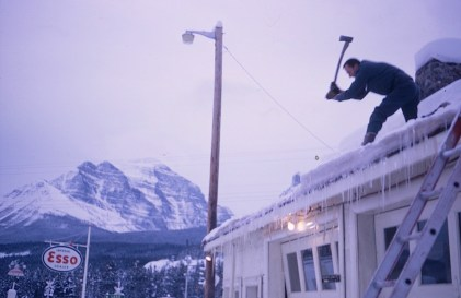 Removing Roof Ice - Rocky Mountains Jan. 5, 1969