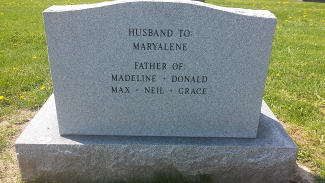 Back of my husband's headstone