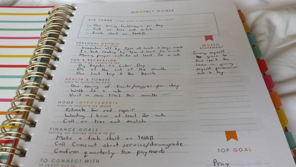 Living Well Planner Monthly Goals Page