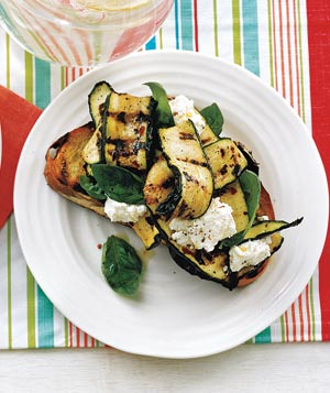 Grilled Bread with Zucchini, Ricotta and Basil