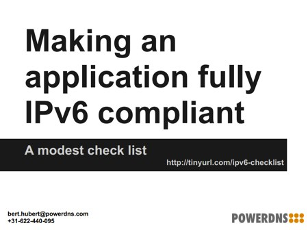 Slides from RIPE66: Making an Application Fully IPv6