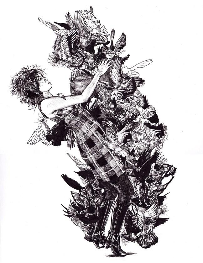 """Winter Garden,"" ink drawing by Jenie Gao."