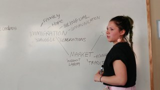 Gabriela Riveros standing by the whiteboard with the topics.