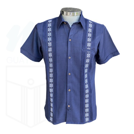 Guayabera bordada azul