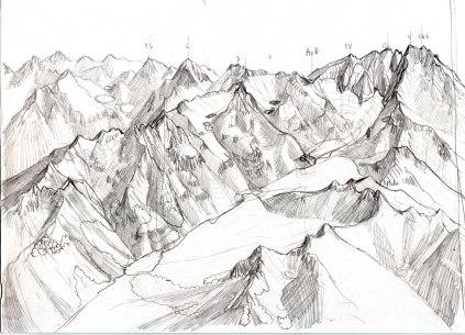 ébauche Vignemale Gaube, vue oblique au crayon, imaginée d'après la carte IGN. 1993, Format A5